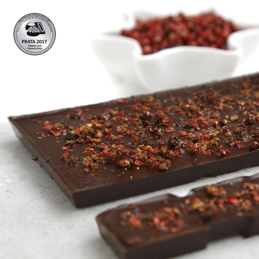 Tablete de Chocolate Negro com Pimenta-Rosa